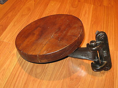 Antique Cast Iron Industrial Mounting Work Bench Stool Adjustable with Wood Seat