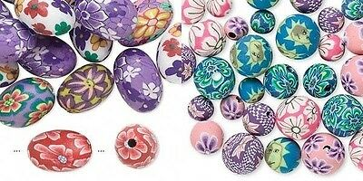 60 Polymer Poly Fimo CLAY Bead Mix Flower Design ~ 30 Oval Egg Shape + 30 Round