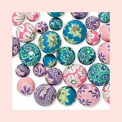 60 Polymer Poly Fimo CLAY Bead Mix Flower Design ~ Mix of Round 6-10mm Pastel