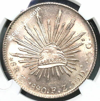 1890-Zs NGC MS 63 MEXICO Silver 8 Reales Flashy Coin (16120401D)