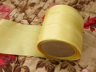 """9.9 yards 1930s Vintage French Silk Moire Ribbon Trim YELLOW 3 3/16"""" wide"""