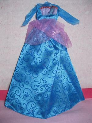 Barbie doll ISLAND PRINCESS singing ROSELLA REPLACE Ball BLUE SHINY Gown Dress