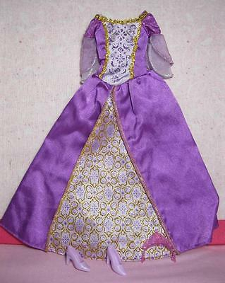 Barbie The Island Princess Luciana Doll Purple Ball Gown Clothes Dress Shoes Lot