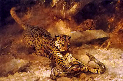 Oil painting arthur wardle - the attack Leopards and pythons Viper hand painted