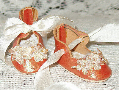 For Bleuette~Handmade Leather Doll Shoes ~FANCY German Style~ORANGE PEARL