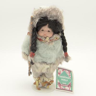 Heritage Dolls Indian Arts and Crafts Porcelain Doll w Stand Native American