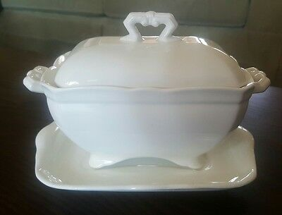 Antique John Maddock & Son White Ironstone Small Tureen Covered Dish Underplate