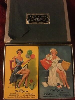 Vintage Duratone Pin Up Girl Playing Cards Long Island New York