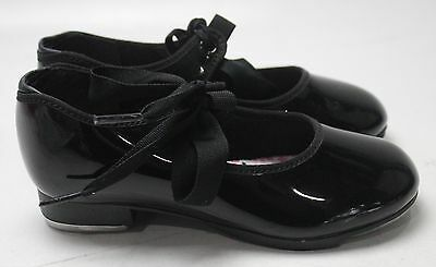 New With Box Girl's CAPEZIO Black Patent Leather Tap Shoes Size 12