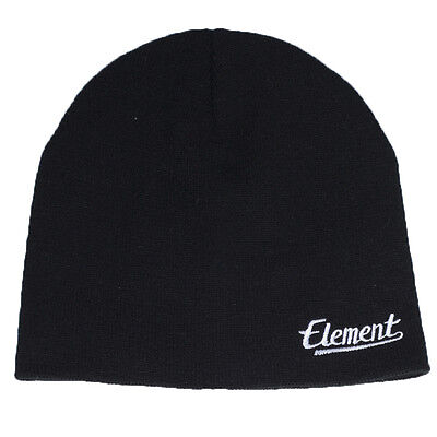 "New + Tag Element ""signature"" Mens Boys Knit Beanie Hat Snow Black One Size"