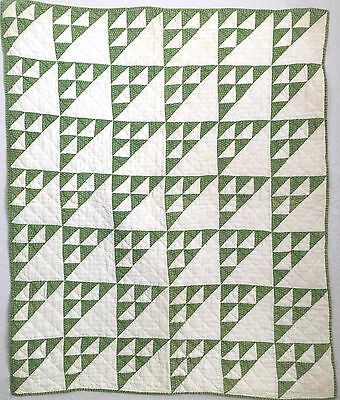 Antique Hand Sewn Sugar Loaf or Pyramid Triangle Crib Quilt from 1870