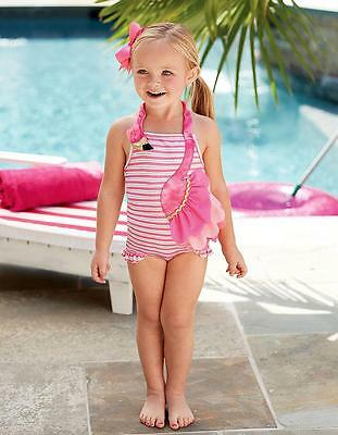 New Girls Boutique Mud Pie Pink Gold FLAMINGO Swimsuit Bathing Suit Baby Toddler