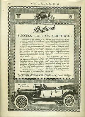 Success built on good will Packard Touring Car ad 1915