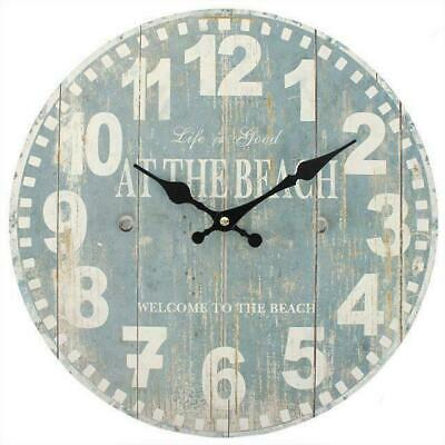 """34cm Wall Clock """"Life Is Good At The Beach"""" Rustic Wood Effect Wall Clock"""