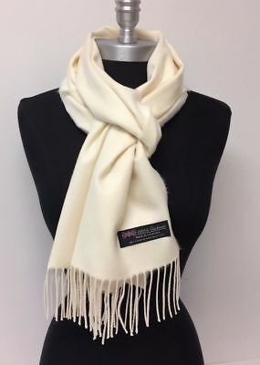 c8bf3ed5af69a Brand New 100% Cashmere Scarf Cream Solid Scotland Wool Soft Unisex #S-d4tn