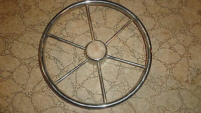 "Vintage Boat Steering Wheel 15"" Metal & Wood  6 Spoke  Used Condition"