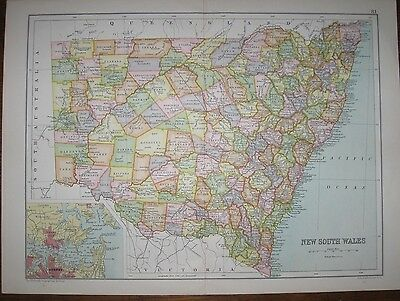1886 Two Antique Maps - COUNTIES OF NEW SOUTH WALES, AUSTRALIA - J. Bartholomew