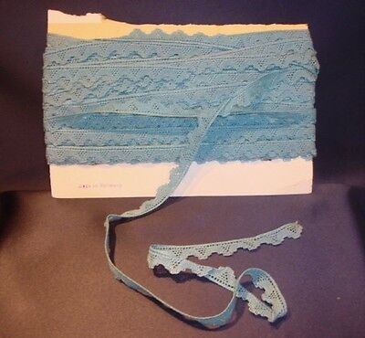 """Antique Blue Cotton Lace Trim 5/8"""" x 2+ yds Doll Made in Germany Unused"""