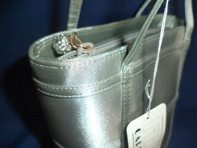 Carlo Fellini Silver Satin Bucket Style Evening Bag/w Jeweled Zipper Pull Nwt