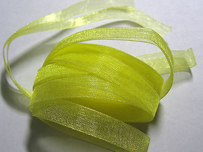 3 metres of (pre cut) 6mm wide YELLOW Woven Edge Organza Ribbon FB14C