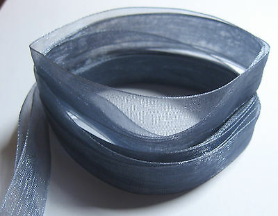 3 metres of (pre cut) 6mm wide PEWTER GREY Woven Edge Organza Ribbon FB10C