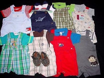 Used Baby Boy One Piece 0-3 3-6 Months Spring Summer Overall Shorts Clothes Lot