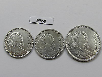 Egypt 1956 & 1957 5 & 10 Piaster 3 Silver Coins - M859