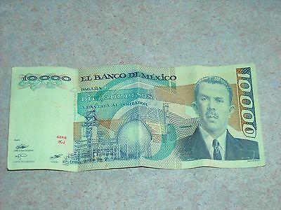 10,000 Mexican Peso Note Diez Mil Peso  Mexico 1985 Banknote Paper Money