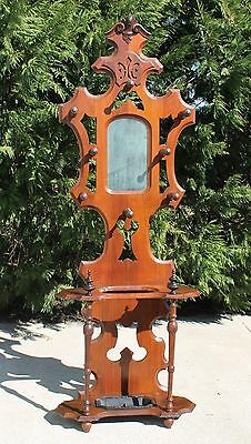 Victorian Walnut Hall Tree Umbrella Hat Coat Rack Stand Iron Drip Pan c1880