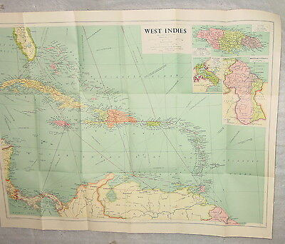 "Vintage 1948 Philip & Stanford West Indies Map 28"" Long 22"" High"