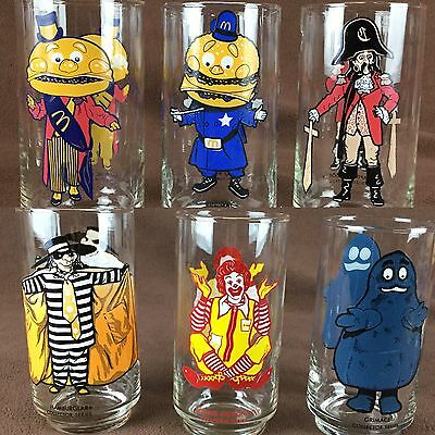 Vtg 1977 McDonalds Collector Series Glasses Lot of 6 Complete
