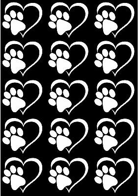 """Heart Dog Cat Paw Print 5"""" X 3-1/2"""" Card White Fused Glass Decals 17CC783"""