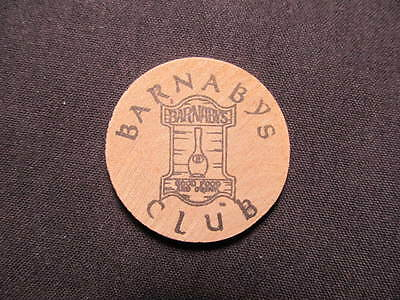 Arlington Heights, Illinois Wooden Nickel token - Barnaby's Club Wood Drink Coin