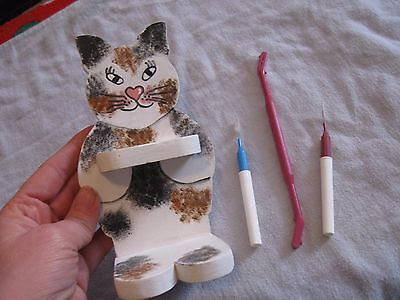 handmade wooden cat tool holder 6""