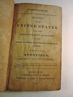 Antique~1832~HISTORY OF THE UNITED STATES~J.W. Prentiss~KEENE, NH~Original~BOOK