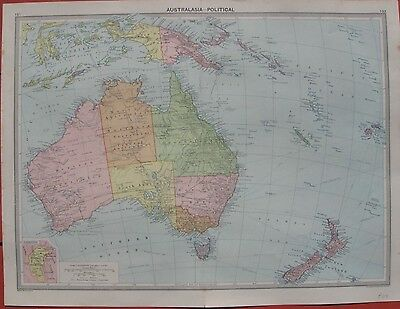 1925 Large Vintage Map -  AUSTRALASIA - POLITICAL - George Philip