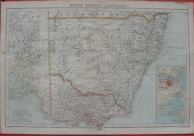 1905 Large Antique Map - SOUTH EASTERN AUSTRALIA - Sydney & Melbourne - G.Philip