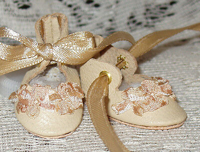 For Bleuette~Handmade Leather Doll Shoes ~FANCY German Style~ECRU  w /gold