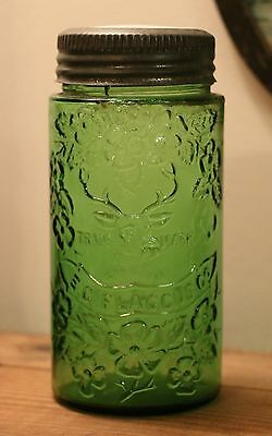 Awesome Antique Green FLACCUS STAG HEAD Fruit Canning Jar - RARE