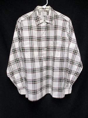 Vintage Penneys Towncraft White Plaid Long Sleeve Hipster Shirt Men's M