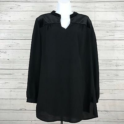 Chico's Womens Solid Black Career Long Sleeve Blouse Shirt Top Size 1