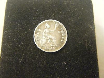 Silver 1840 Four (4) Pence British/England Coin