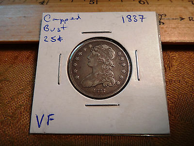 1837 United States Capped Bust Silver Quarter 25c - Free S&H USA