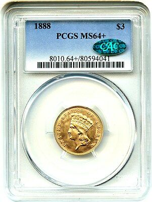 1888 $3 PCGS/CAC MS64+ Low Mintage Issue - 3 Princess Gold Coin