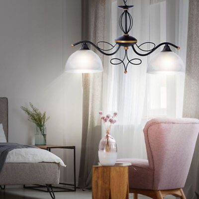LED Country House Style Cover Lighting Glass Hanging Lamp Pendulum Chandelier
