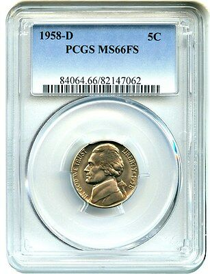 1958-D 5c PCGS MS66 FS - Jefferson Nickel