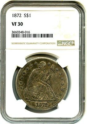 1872 $1 NGC VF30 - Type Coin - Liberty Seated Dollar - Type Coin