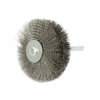 6mm Shank 85mm Dia T Shaped Stainless Steel Wire Polishing Brush Silver Tone