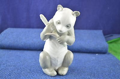 Lovely Nao By Lladro ''Panda Bear Holding Bamboo Stick'' Figurine USC RD7172
