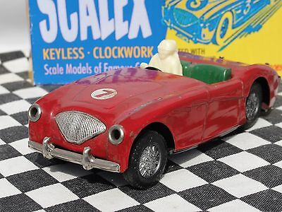 Scalex 1950's Austin Healey Tinplate Friction Car Red #7  1:32 Used Boxed